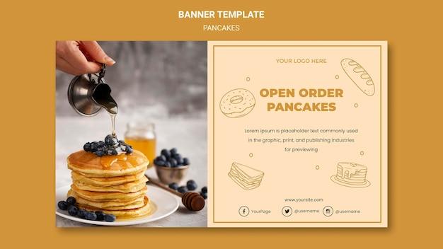 Banner pannenkoeken restaurant sjabloon