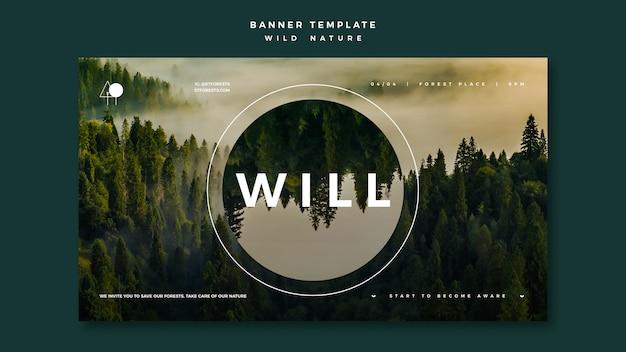 Banner per natura selvaggia con foresta