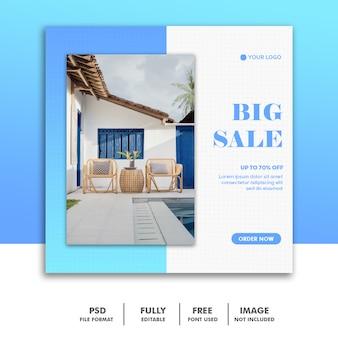 Banner per social mediatemplate mobili decorazione blu vendita