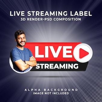 Banner pictogram profiel live streaming 3d render pictogram badge knop