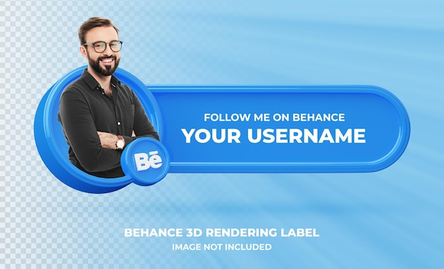 Banner pictogram profiel op behance 3d-rendering label geïsoleerd
