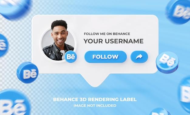 Banner pictogram profiel op behance 3d-rendering labelsjabloon