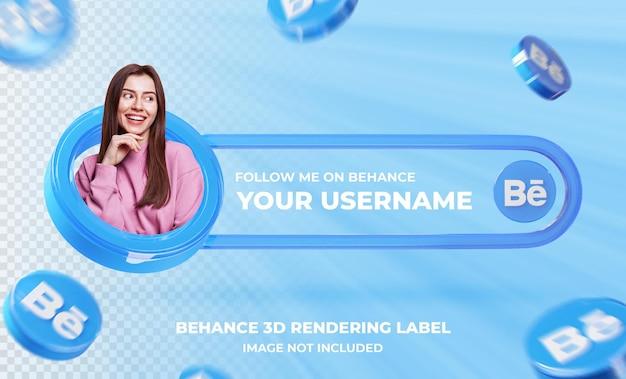 Banner pictogram profiel op behance 3d-rendering sjabloon