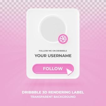 banner pictogram profiel op dribbble 3d-rendering banner geïsoleerd