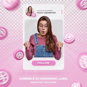 banner pictogram profiel op dribbble 3d-rendering labelsjabloon