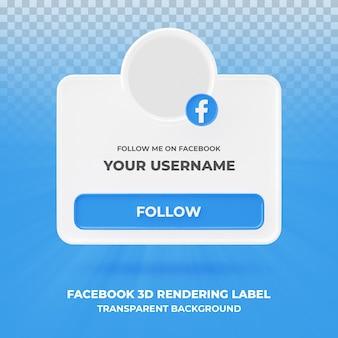 Banner pictogram profiel op facebook 3d-rendering banner geïsoleerd