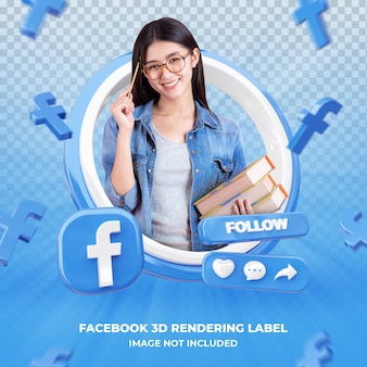 banner pictogram profiel op facebook 3d-rendering label geïsoleerd