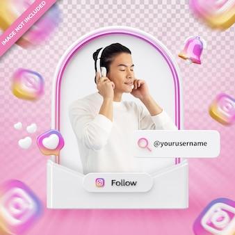 Banner pictogram profiel op instagram 3d-rendering label geïsoleerd