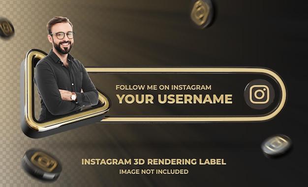 Banner pictogram profiel op instagram 3d-rendering labelmodel