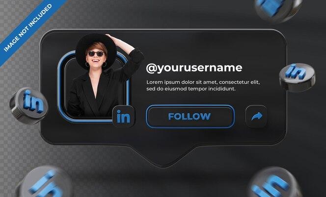 banner pictogram profiel op linkedin 3d-rendering label geïsoleerd