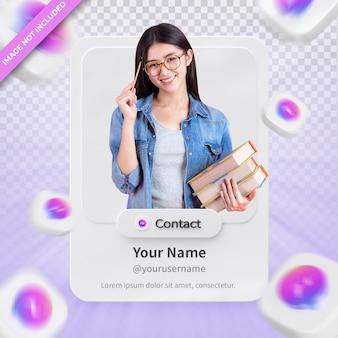 Banner pictogram profiel op messenger 3d-rendering label geïsoleerd