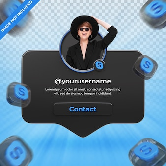 Banner pictogram profiel op skype 3d-rendering label geïsoleerd