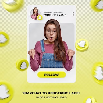banner pictogram profiel op snapchat 3d rendering labelsjabloon
