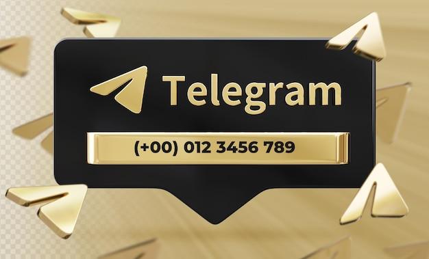 Banner pictogram profiel op telegram 3d-rendering label geïsoleerd