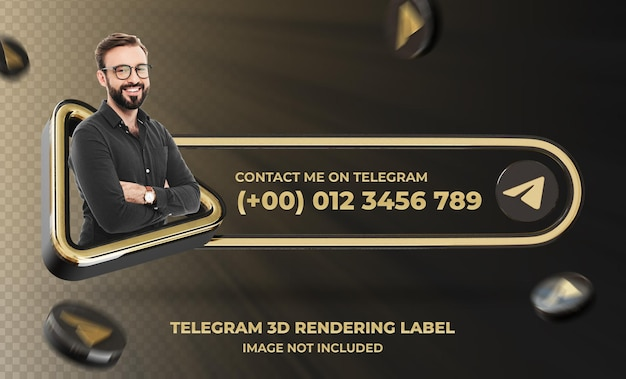 Banner pictogram profiel op telegram 3d-rendering labelmodel