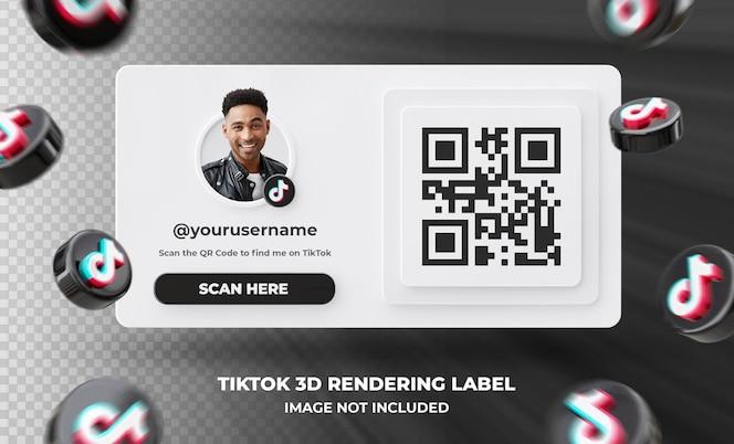 banner pictogram profiel op tiktok 3d-rendering label geïsoleerd