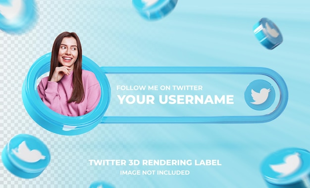 Banner pictogram profiel op twitter 3d-rendering sjabloon