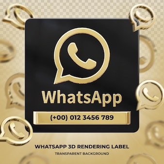 Banner pictogram profiel op whatsapp 3d-rendering label geïsoleerd