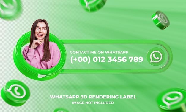 Banner pictogram profiel op whatsapp 3d-rendering sjabloon