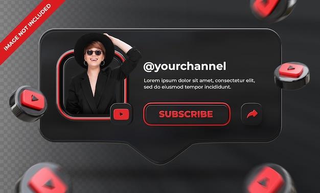 Banner pictogram profiel op youtube 3d-rendering label geïsoleerd
