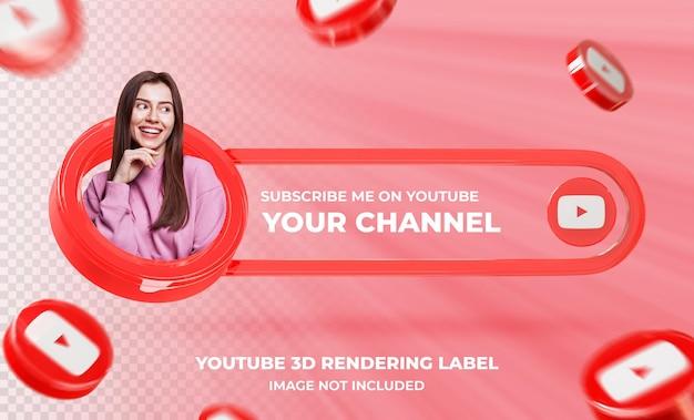 Banner pictogram profiel op youtube 3d-rendering sjabloon
