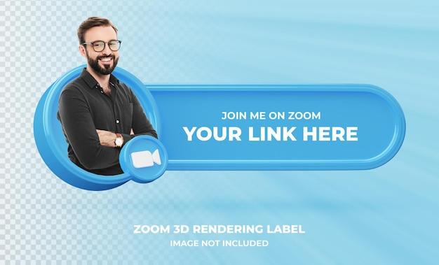 Banner pictogram profiel op zoom 3d rendering label geïsoleerd