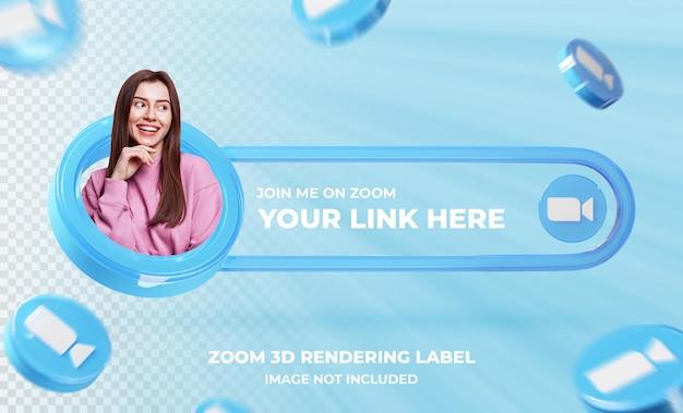 Banner pictogram profiel op zoom 3d-rendering sjabloon
