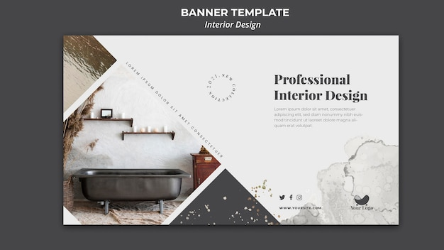 Banner de plantilla de anuncio de diseño de interiores
