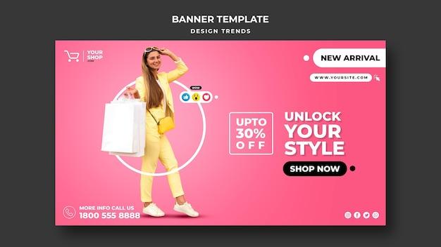 Banner de plantilla de anuncio de mujer de compras