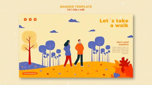 Banner de plantilla de caminar en la naturaleza