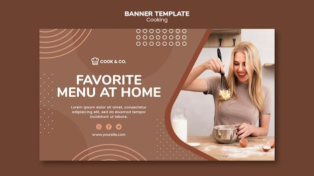 Banner de plantilla de cocina en casa