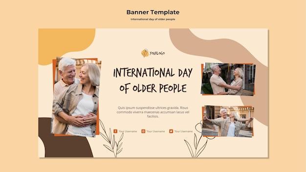 Banner de plantilla del día internacional de las personas mayores