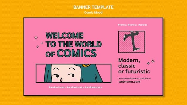 Banner de plantilla de diseño cómico