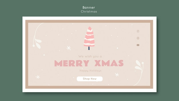 Banner de plantilla de feliz navidad