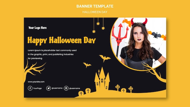 Banner de plantilla de fiesta de halloween
