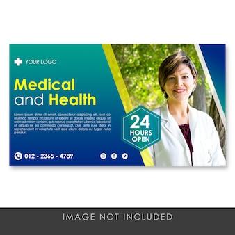 Banner plantilla médica y saludable degradado azul