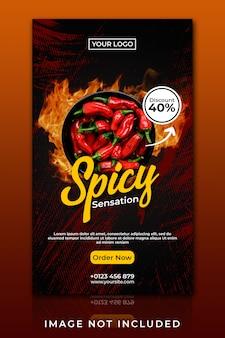 Banner para plantilla de portada de facebook de ventas de comida picante