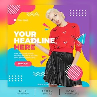 Banner de plantilla de publicación de instagram de moda