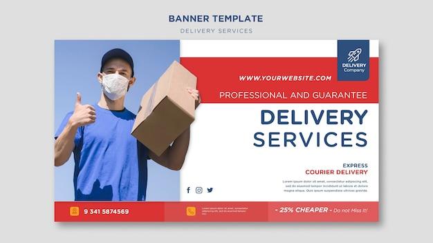 Banner de plantilla de servicios de entrega