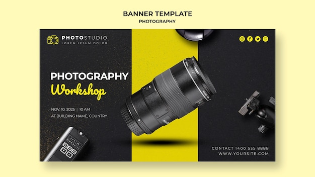 Banner de plantilla de taller de fotografía