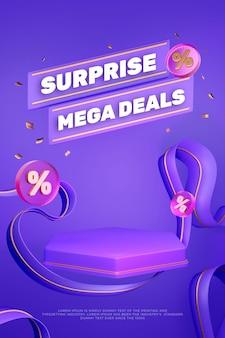 Banner de podio de exhibición de producto púrpura colorido 3d PSD Premium
