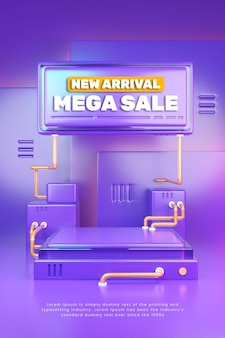 Banner de podio de exhibición de producto púrpura colorido 3d