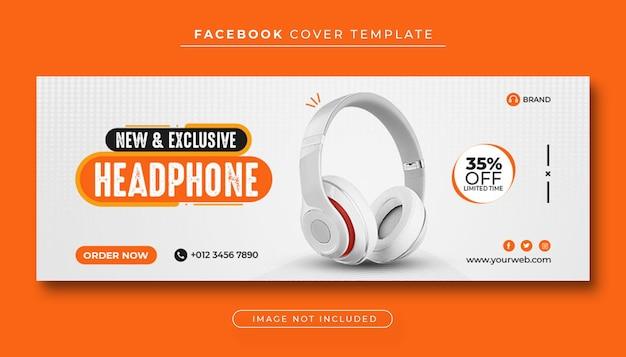 Banner de portada de facebook de venta de productos de marca de auriculares