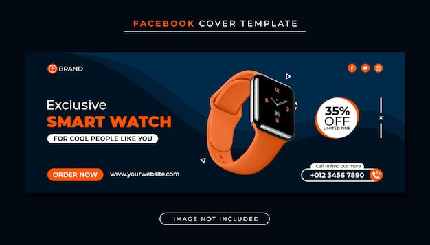 Banner de portada de facebook de venta de productos de reloj inteligente