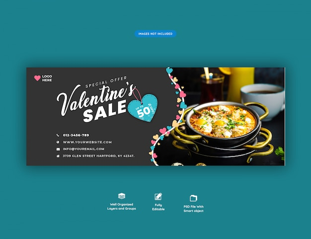 Banner de portada de facebook de venta de san valentín