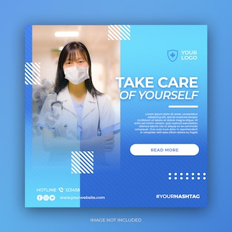 Banner de prevención hospitalaria o folleto cuadrado para plantilla de publicación en redes sociales
