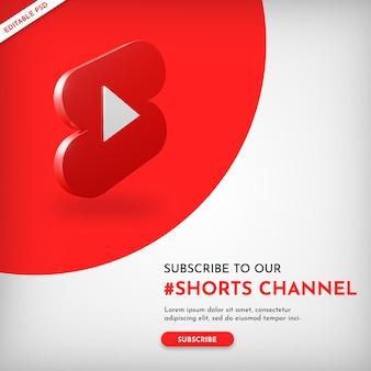 Banner de promoción de canal de cortos de youtube con icono 3d