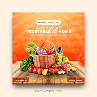 Banner de promoción de entrega de verduras y comestibles en línea plantilla de publicación de redes sociales de instagram