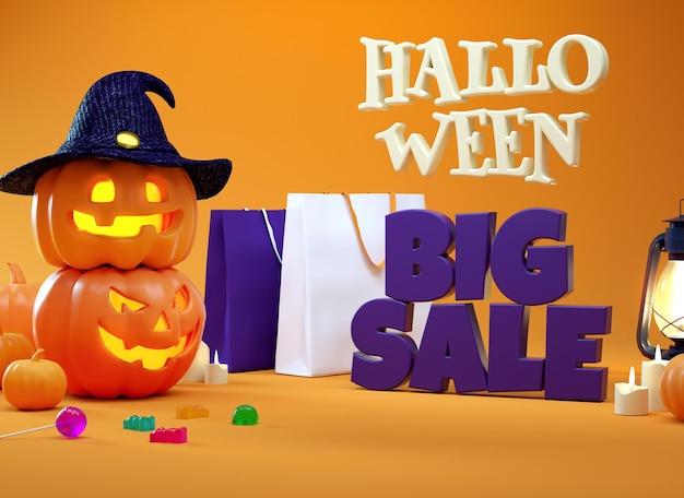 Banner de promoción de gran venta de halloween con calabazas y bolsas de compras en renderizado 3d