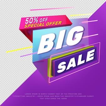 Banner de promoción de título de descuento de gran venta de luz de neón 3d